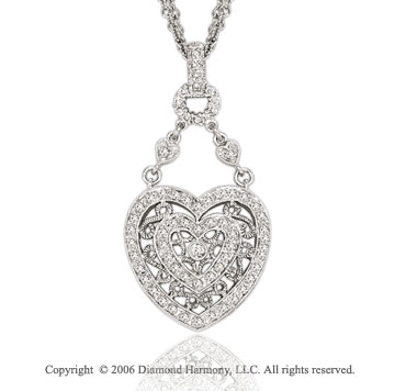14k White Gold Filigree 1/2  Carat Diamond Heart Pendant