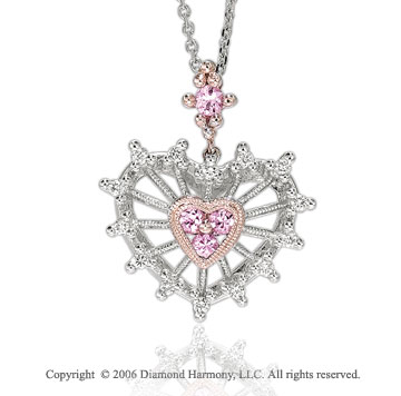 14k Gold Nautical Pink Sapphire Diamond Heart Pendant