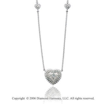 14k White Gold Bezel 1/4 Carat Diamond Three Heart Necklace