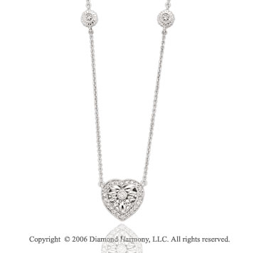 14k White Gold Bezel 1/3 Carat Diamond Three Heart Necklace
