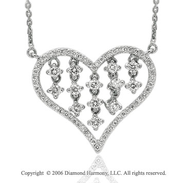 14k White Gold Prong Drop 1/2  Carat Diamond Heart Necklace
