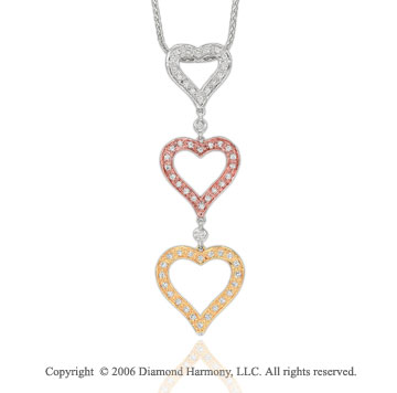 14k Tri Tone Gold Linked .30  Carat Diamond Heart Pendant