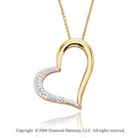 14k Yellow Gold Prong 1/6 Carat Diamond Heart Necklace