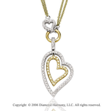 14k Two Tone Gold Prong .10  Carat Diamond Heart Necklace