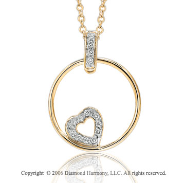 14k Yellow Gold Circle Pave Diamond Heart Pendant