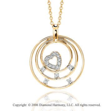 14k Yellow Gold Three Moons 1/4 Carat Diamond Heart Pendant