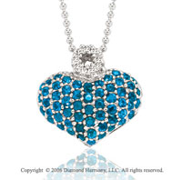 14k White Gold Blue Sapphire Pave Diamond Heart Necklace
