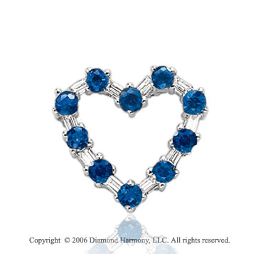 14k White Gold Blue Sapphire Diamond Heart Necklace