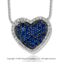 14k White Gold Sapphire Wonderland Diamond Heart Necklace