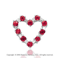 14k White Gold Prong Ruby .20  Carat Diamond Heart Necklace