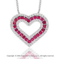 14k White Gold Ruby Prong 2/5 Carat Diamond Heart Necklace