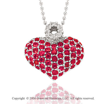 14k White Gold Prong Ruby Pave Diamond Heart Necklace