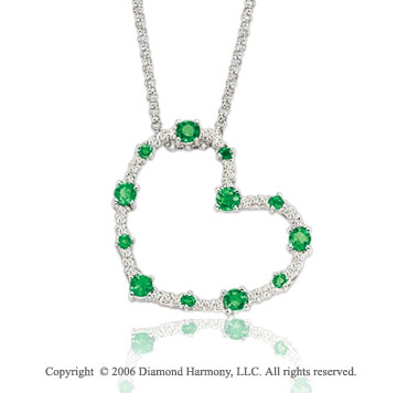 14k White Gold Emerald 1/4 Carat Diamond Heart Pendant