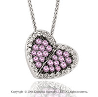 14k White Gold Pink Sapphire Garden Diamond Heart Necklace