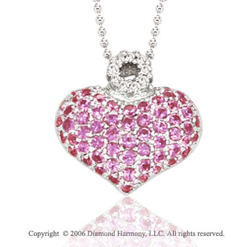 14k White Gold Pink Sapphire Pave Diamond Heart Necklace