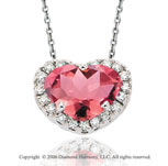 14k White Gold Pink Cizi Prong Diamond Heart Necklace