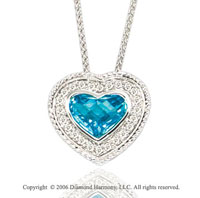 14k Woven White Gold Blue Topaz Diamond Heart Necklace