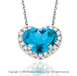 14k White Gold Blue Topaz Prong Diamond Heart Necklace