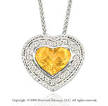14k Woven White Gold Citrine Diamond Heart Necklace