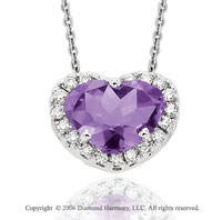 14k White Gold Amethyst Prong Diamond Heart Necklace