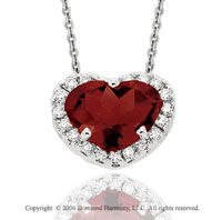 14k White Gold Garnet Prong Diamond Heart Pendant