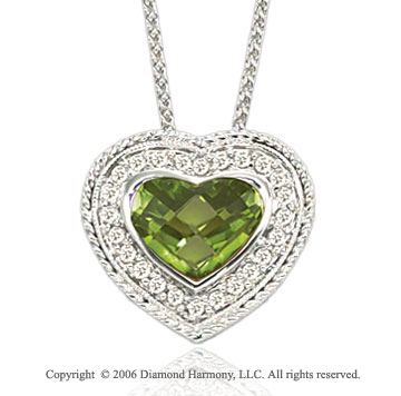 14k Woven White Gold Peridot Diamond Heart Necklace