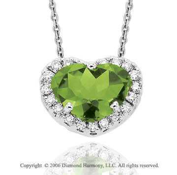 14k White Gold Peridot Prong Diamond Heart Necklace