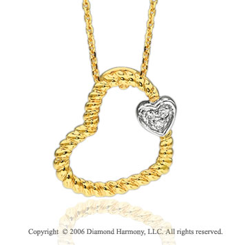 14k Two Tone Gold Rope Diamond Heart Necklace