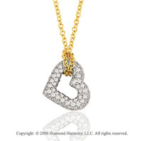 14k White Gold Prong 1/3 Carat Diamond Heart Necklace
