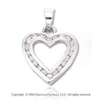 14k White Gold Channel 22 Stone Diamond Heart Pendant