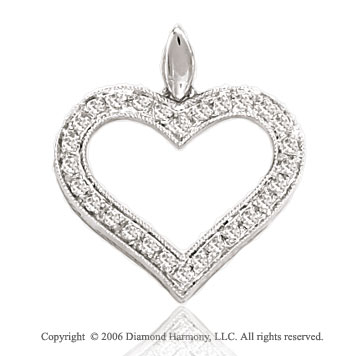 14k White Gold Open Prong .15  Carat Diamond Heart Pendant