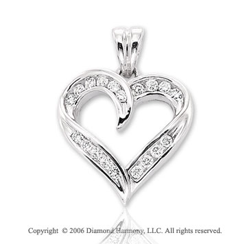 14k White Gold 4 Channel 1/3  Carat Diamond Heart Pendant