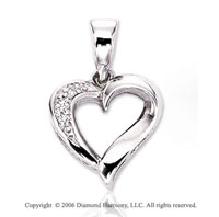 14k White Gold 3 Stone Cluster Diamond Heart Pendant