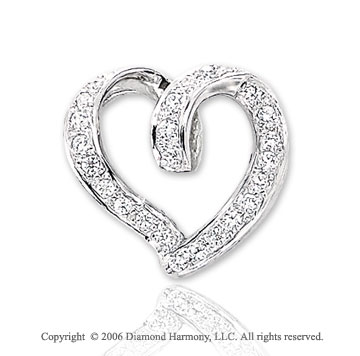 14k White Gold Looping .15  Carat Diamond Heart Pendant