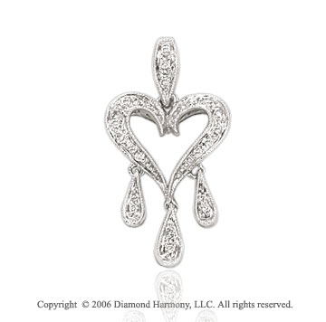 14k White Gold Teardrops .15  Carat Diamond Heart Pendant