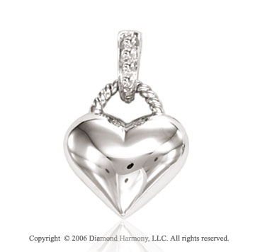 14k White Gold Four Stone Diamond Bail Heart Pendant