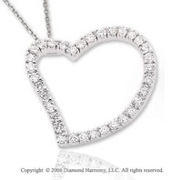 14k White Gold Snuggling 3/4  Carat Diamond Heart Pendant