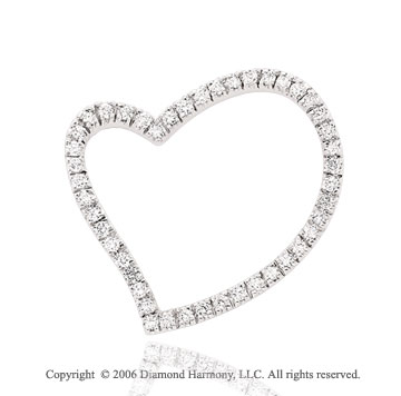 14k White Gold 1.00  Carat Diamond Heart Pendant