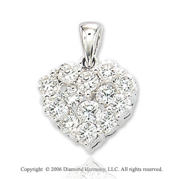 14k White Gold Lush Round .75  Carat Diamond Heart Pendant