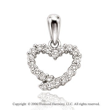14k White Gold Wreath .50  Carat Diamond Heart Pendant