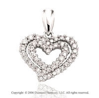 14k White Gold Dual Prong .75  Carat Diamond Heart Pendant