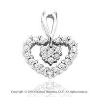 14k White Gold Inner Love .40  Carat Diamond Heart Pendant
