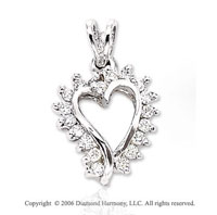 14k White Gold Dragon 's Tooth Diamond Heart Pendant