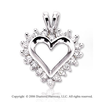 14k White Gold Sunburst .50  Carat Diamond Heart Pendant
