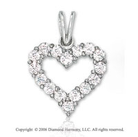 14k White Gold Prong .55  Carat Diamond Heart Pendant