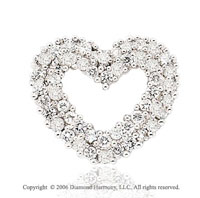 14k White Gold Flourish .50  Carat Diamond Heart Pendant