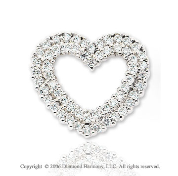 14k White Gold Two Row .75  Carat Diamond Heart Pendant