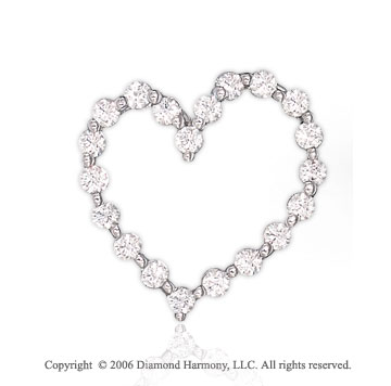 14k White Gold Bubbly Buds .55 Carat Diamond Heart Pendant