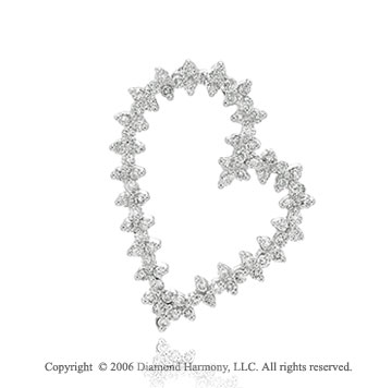 14k White Gold Pounding One Carat Diamond Heart Pendant