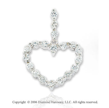 14k White Gold .50  Carat Diamond Chain Heart Pendant